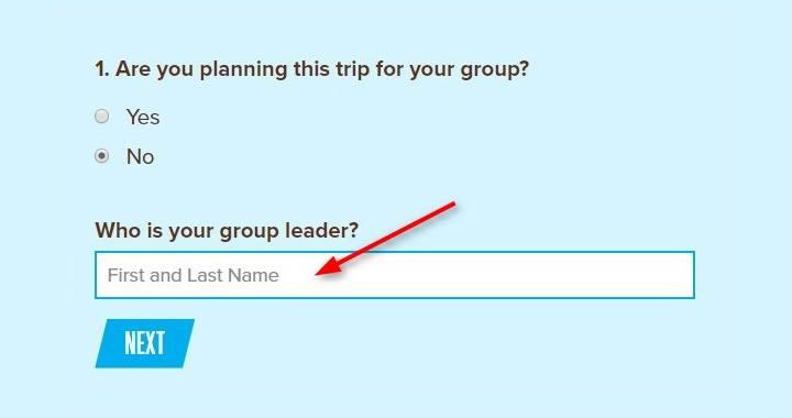 screenshot of registration step 1 for coed adult ski trip san antonio tx