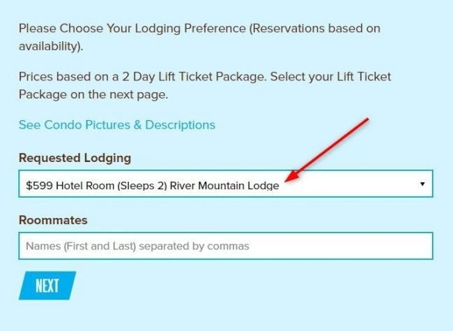 screenshot of registration step 3 for coed adult ski trip san antonio tx