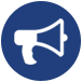 megaphone icon for social events for austin ssc social coordinator